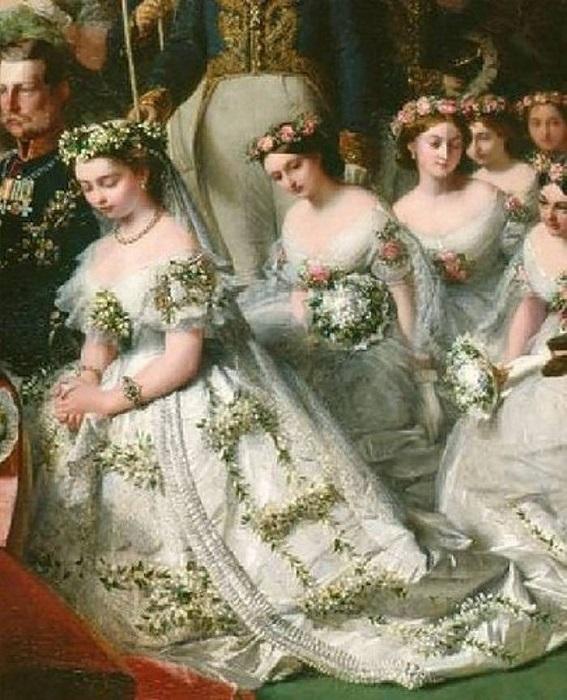 Королева Виктория с подружками невесты - на голове невесты венок из апельсинового цвета, на подружках венки из роз
