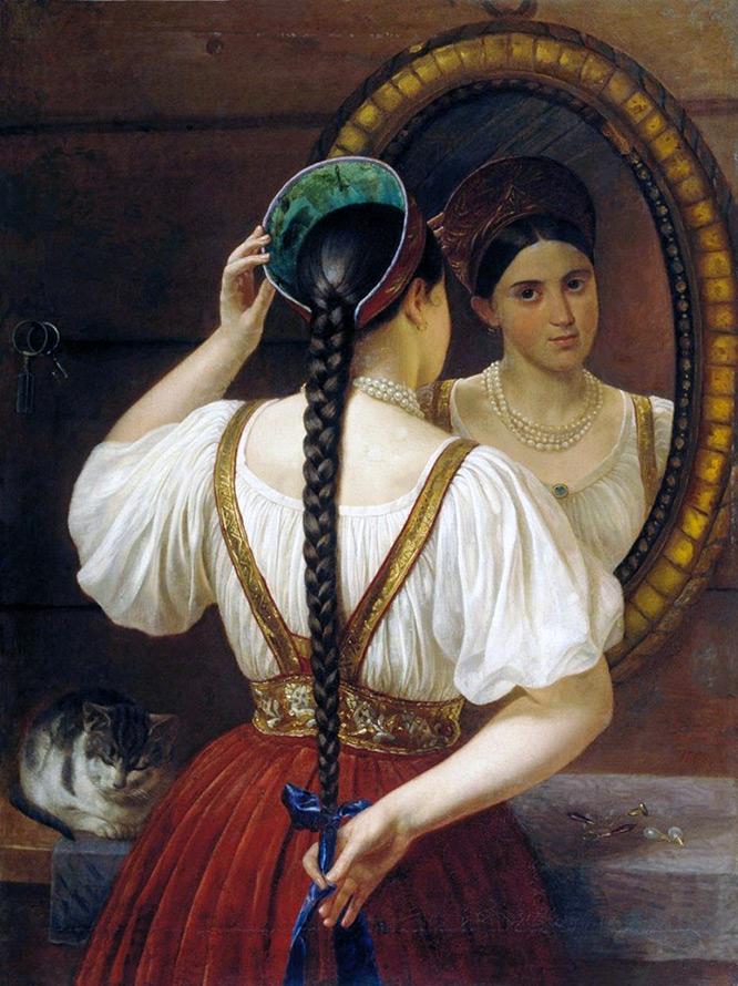 русская девушка с косичками аня