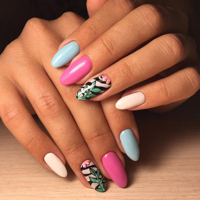 маникюр на длинных ногтях, длинные ногти, красивые длинные ногти