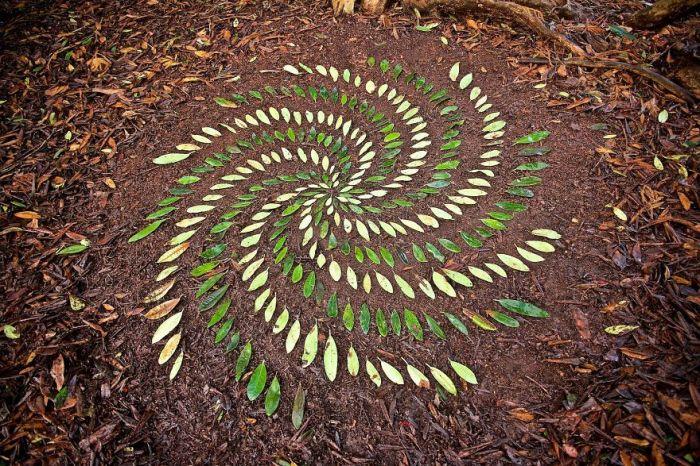 Ленд-арт из листьев, мастерски созданный талантливым Джеймсом Бранттом.