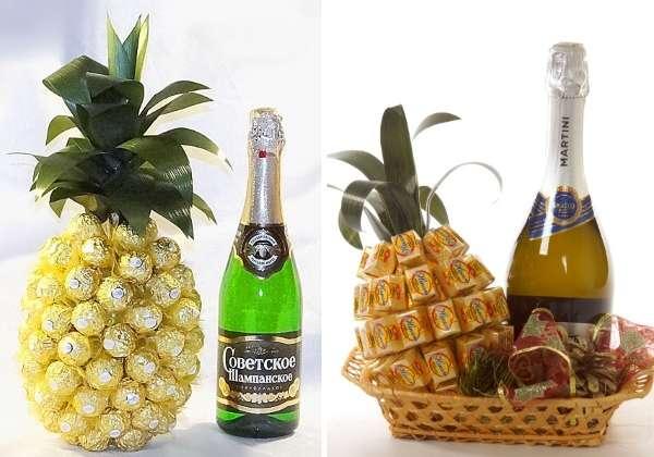 Как украсить бутылку шампанского конфетами - ананас своими руками