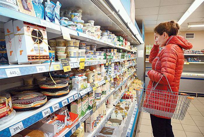 Свежие продукты в супермаркете.