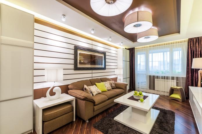 сочетание белого и коричневого цвета в интерьере гостиной