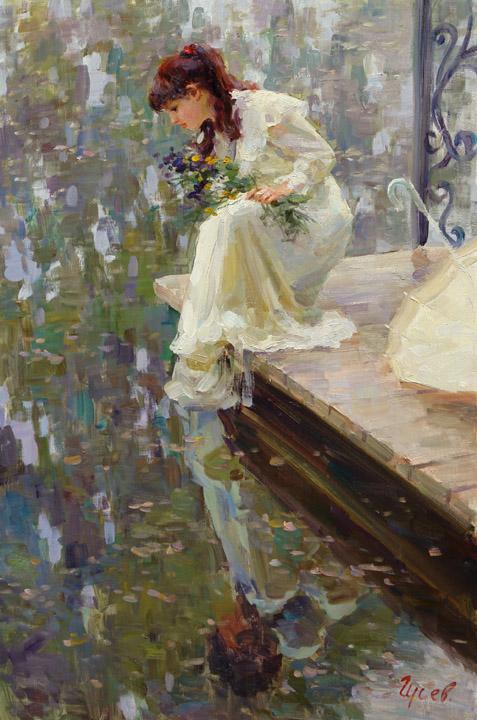 Отражение, Владимир ГуÑев- картина, летний день, девушка на моÑтике, река,импреÑÑиониÐм