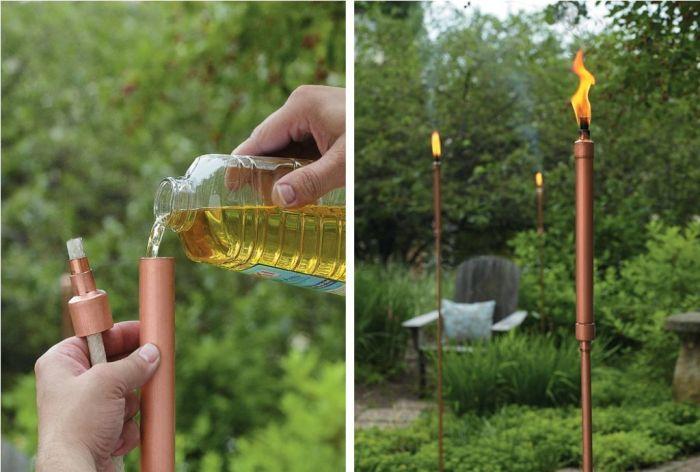Интересная идея использования водопроводной трубы - простой, но оригинальный факел, который станет настоящей изюминкой на вашем дачном участке.