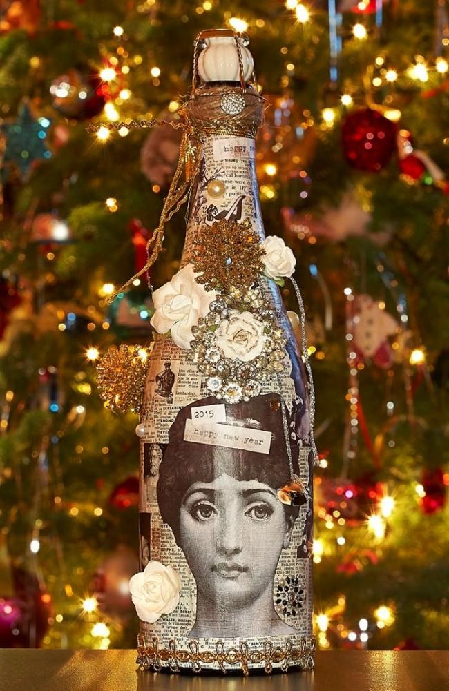 Декор шампанского в винтажном стиле