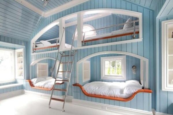 Красивые двухъярусные кровати в морском стиле