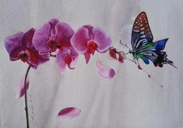 ÐžÑ€Ñ…Ð¸Ð´ÐµÑ Ð¸ бабочка. Бумага, акварель. 14Ñ…20 Ñм. 2015г.