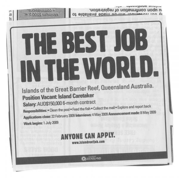 Открыта лучшая вакансия в мире ...
