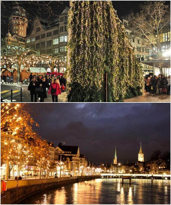 Когда Бангофштрассе одновременно загорается тысячи огней, значит в Цюрихе начинается Рождество (Швейцария).   Фото: triphints.ru/ zagran.guru.