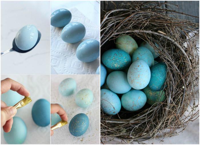 Яйца, покрашенные и декорированные блестками.