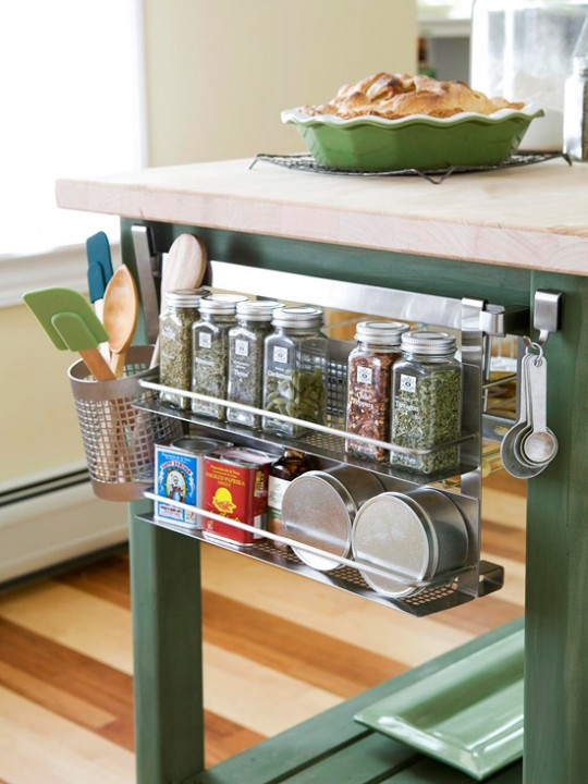 Способы хранения специй на кухне: на стойке