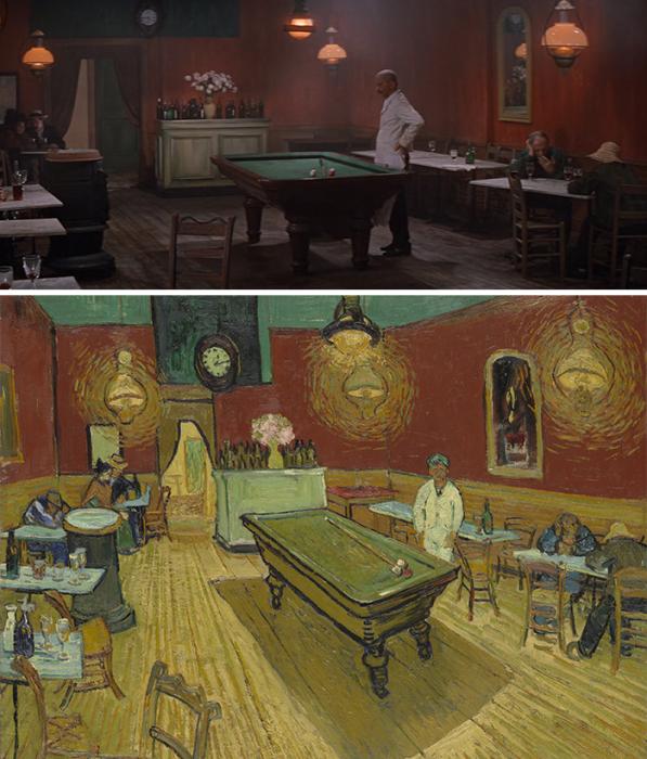 «Жажда жизни», 1956 год, реж. режиссёр Винсент Миннелли и «Ночное кафе» Винсента Ван Гога.