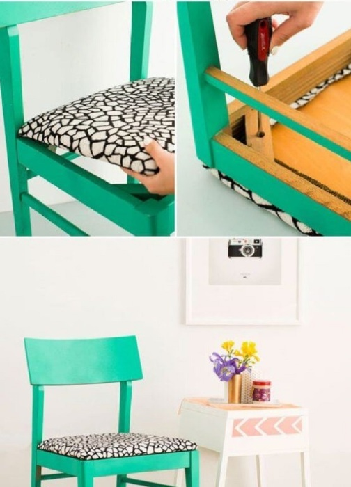 Элегантный стульчик с необыкновенной обивкой светло-чёрного цвета сочетает в себе простоту и роскошь одновременно.