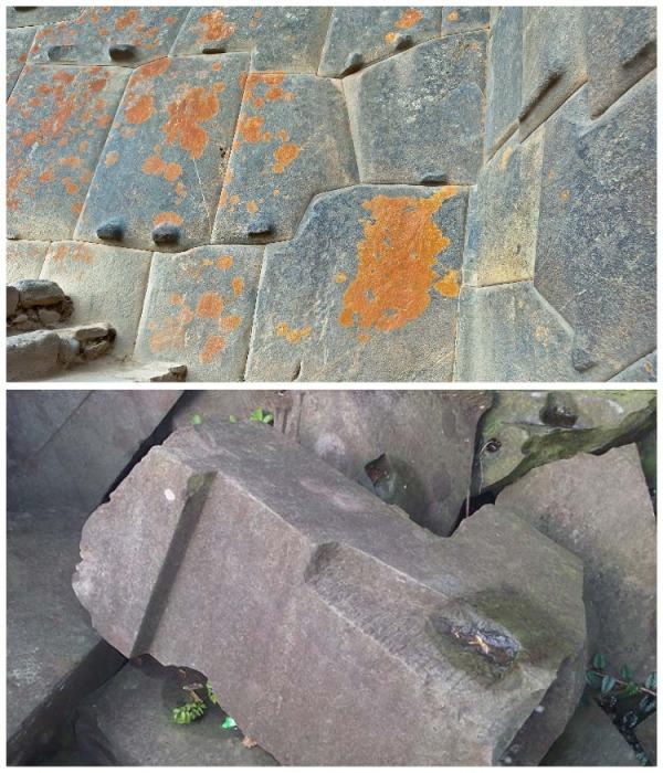Выступы и углубления на камнях, которые использовались для полигональной кладки, свидетельствуют о том, что камни явно обрабатывались в нужных местах