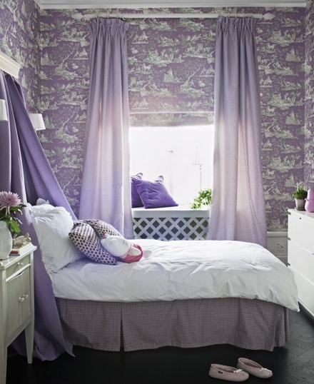Silver purple bedroom