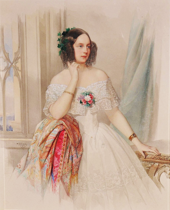 Акварель В.И.Гау. 1844. Великая княжна Мария Николаевна. / Фото: www.pinimg.com