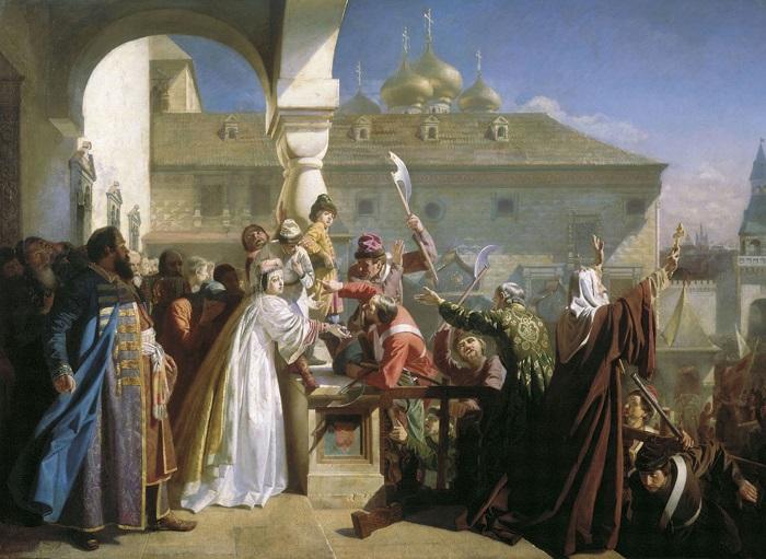 Царица Наталья предъявляет во время стрелецкого бунта царевичей Петра и Ивана на картине Николая Дмитриева-Оренбургского.