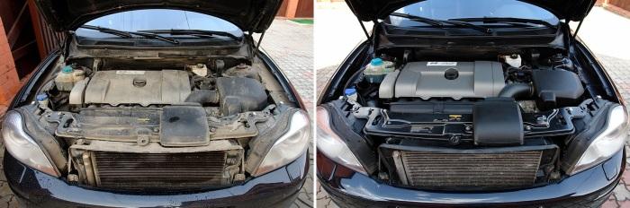 Двигатель до и после помывки. | Фото: msracing.com.ua.