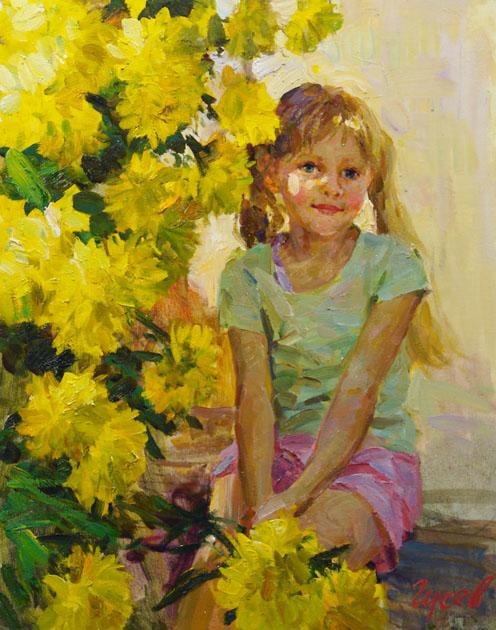 Золотые шары, Владимир ГуÑев- картина, лето, девочка, цветы, отдых