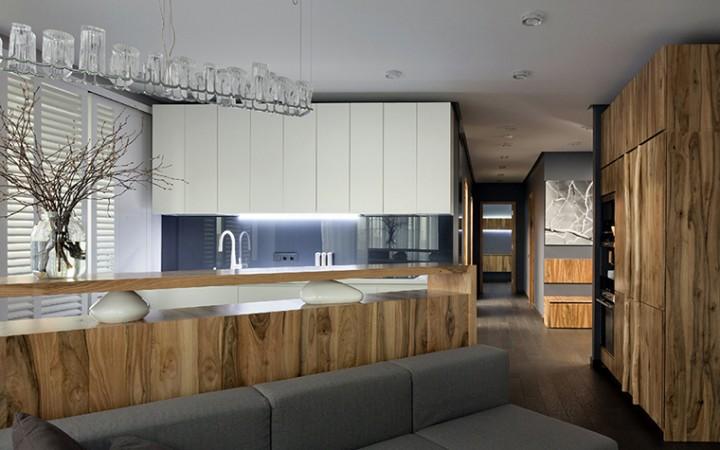 <p>Автор проекта: творческая мастерская Ryntvt Design.</p> <p>Идеальный вариант оформления кухни в эко-стиле — отделка  фасадов корпусной мебели деревом и включение в интерьер композиций из веток.</p>