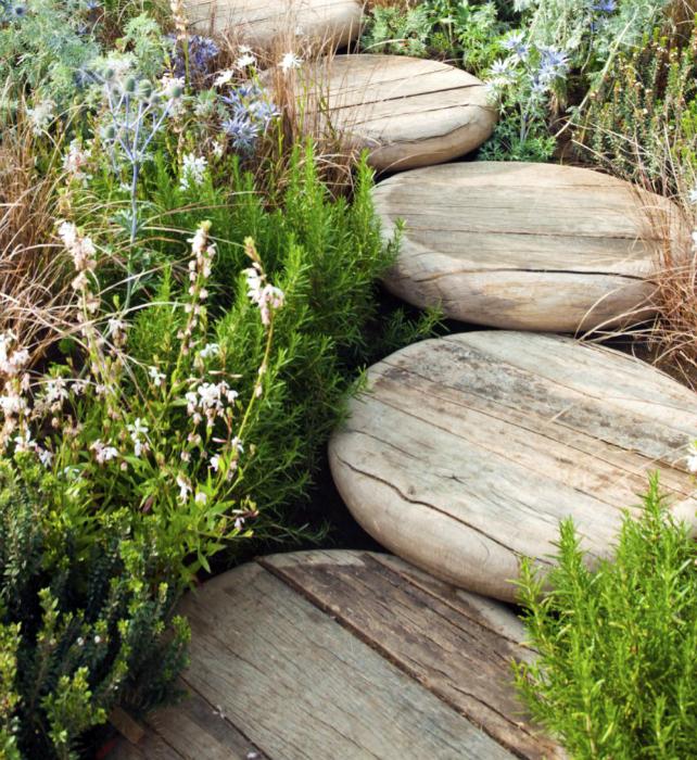 Садовая дорожка из деревянных кругов.