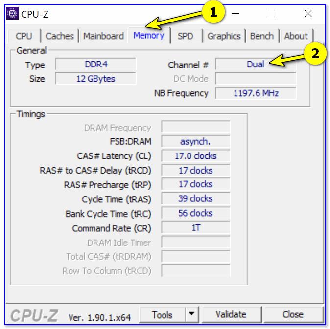 CPU-Z (режим работы ОЗУ). Dual — двуканальный