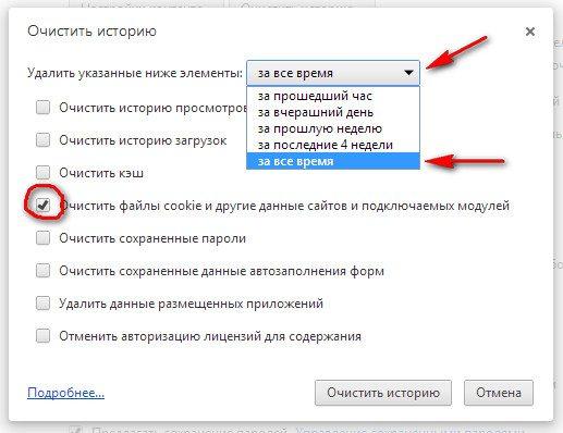 В этом случае, пользователю нужна кнопка «Очистить файлы cookie и другие данные сайтов и подключаемых модулей».
