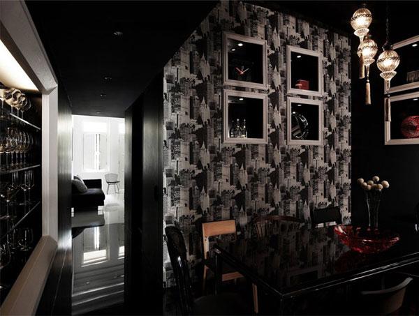 Столовая с черными стенами