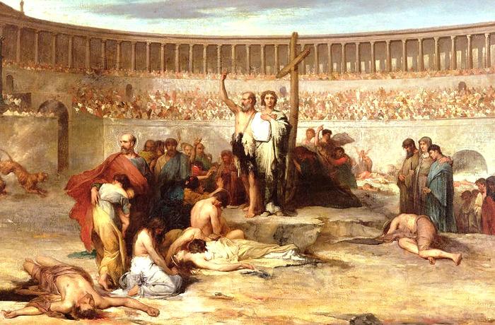 Казни христиан на арене римского колизея.