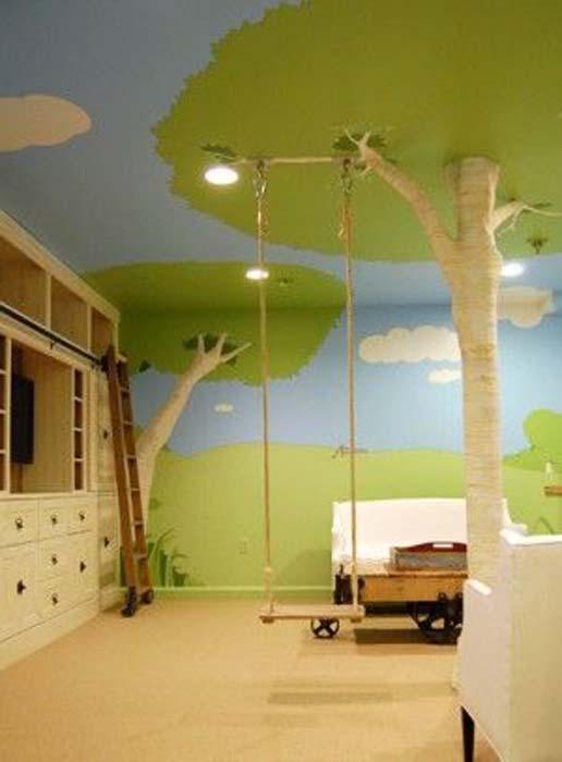 Роспись на стенах и потолке.