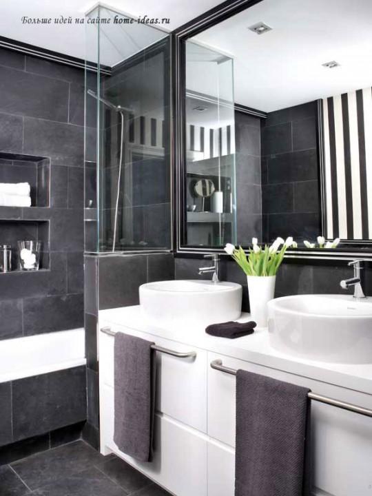 Стильный интерьер черно-белой ванной