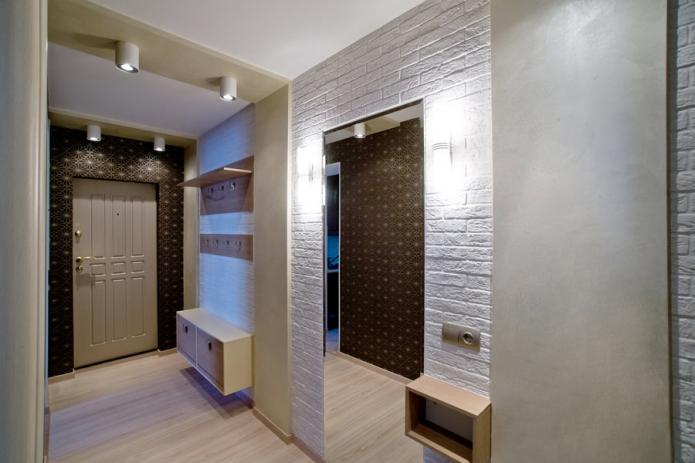Подвесной шкаф в современном дизайне прихожей