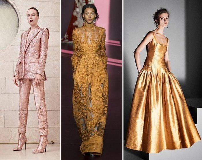 Платья в золотистых тонах.