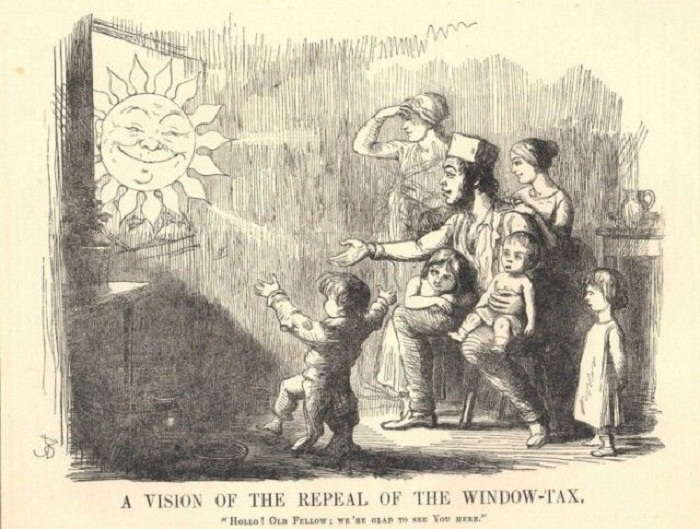 Семья в ожидании отмены «оконного налога» (Карикатура).