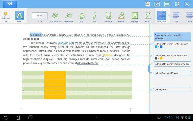 Рис.10 – внешний вид программы Kingsoft WPS Office в СС Андроид