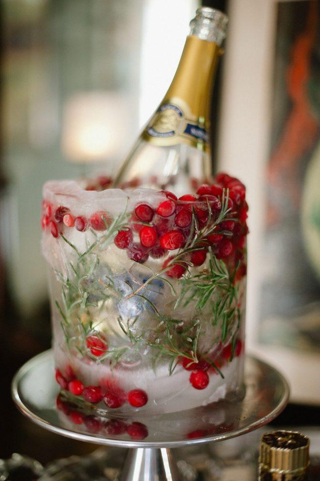 Замороженное с клюквой ведерко для шампанского