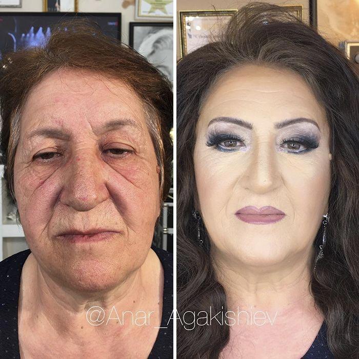 Анар Агакишиев, визажист из Азербайджана, с макияжем и без, до и после макияжа