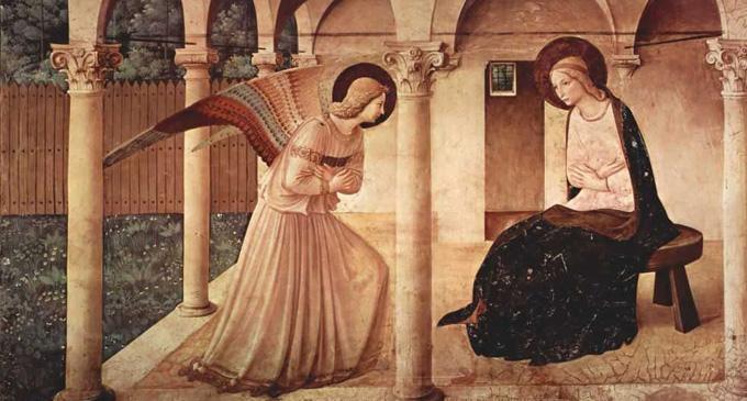 Беато Анджелико. Цикл фресок доминиканского монастыря Сан Марко во Флоренции: Благовещенье. Ок. 1437-1446 гг.