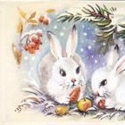 Под елкой зайчонок