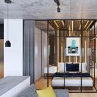 Современный интерьер с элементами лофта для холостяка от студии Geometrium