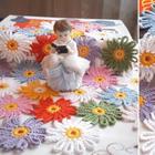 Цветочная поляна из остатков пряжи