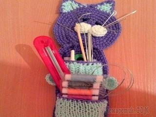 Вязаный кот - органайзер для мелочей