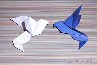 Как сделать из бумаги оригами голубь мира.