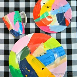 Яркие узоры на керамической посуде своими руками