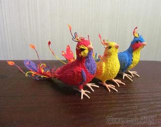 Птички из бархатной пластики