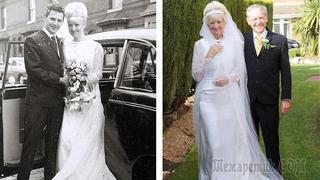 Через 50 лет после свадьбы пара надела свои подвенечные наряды, которые оказались впору