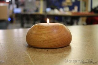 Деревянный подсвечник для чайной свечи