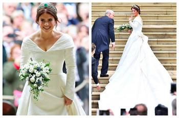 Королевская свадьба: принцесса Евгения в роскошном платье с длинным шлейфом