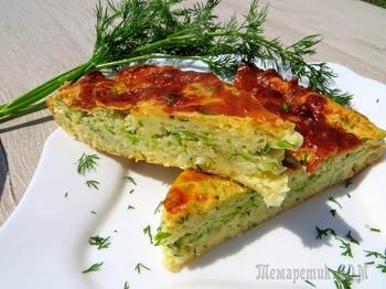 Заливной пирог с кабачком и капустой